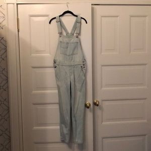 Light wash overalls